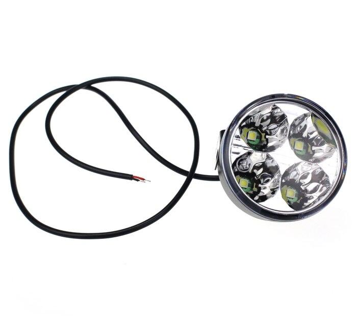 KONGYIDE Healight Bulbs 2x 4 LED Round DRL Daytime Running Driving Auto Car Fog Light Lamps NOV10