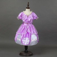 New Hot Casual Cartoon Baby Girl Dress Sofia Princess Purple Fluffy Dresses Big Petals Customs Sophia