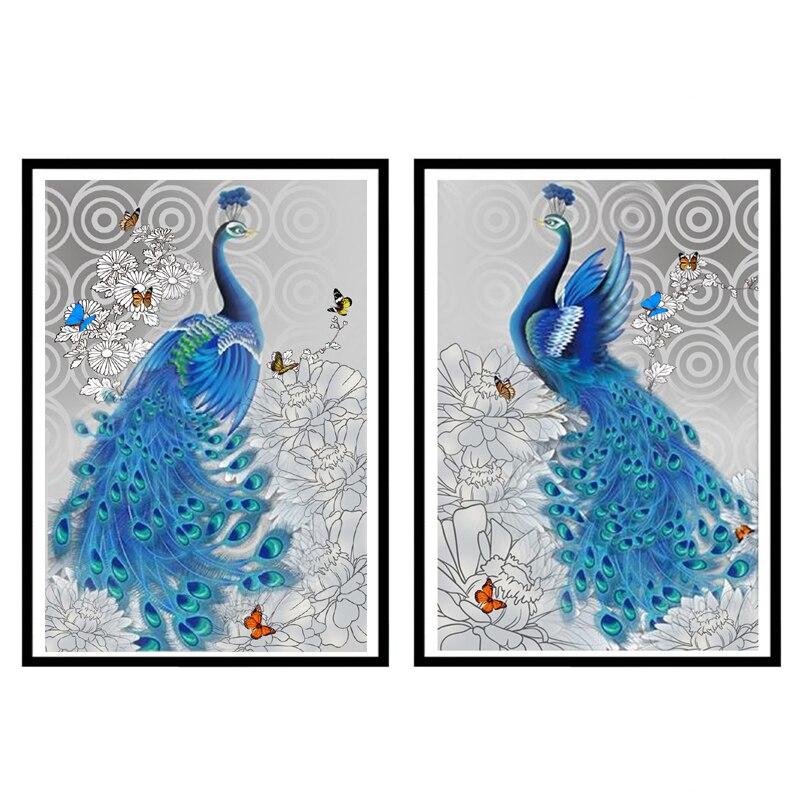 ⃝DIY animal azul Pavo Real diamante bordado DIY diamante pintura ...