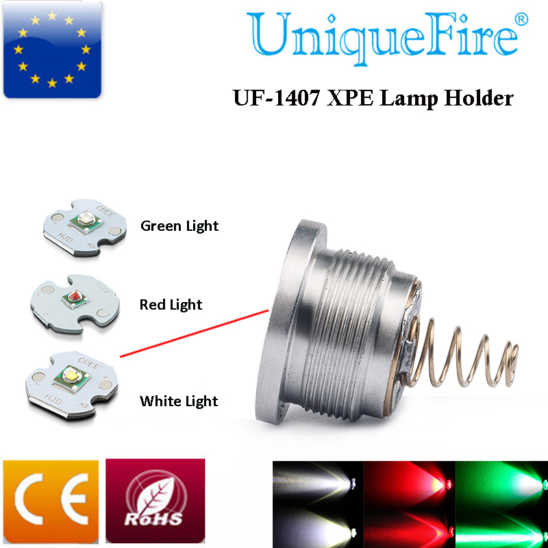 UniqueFire UF-1407 T38 Flashlight Bulb CREE XPE(G/R/W) Light LED Drop In Pill Module 3mode Driver Lamp Holder