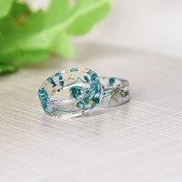 2018 Новая мода свежий прозрачный сушеные цветы кольцо вечерние ювелирные изделия партии милые смолы кольца для женщин Романтический