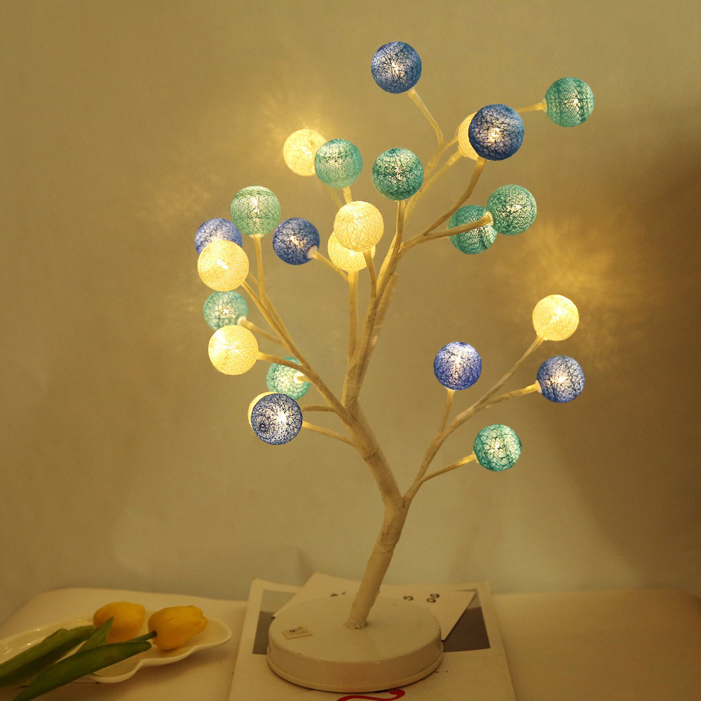 24 Leds Cotton Ball Tree Decorative Desk Lamp Switch On/off Battery Powered Table Light Fairy Decoration For Foyer,bedroom,party An Indispensable Sovereign Remedy For Home Led Lamps