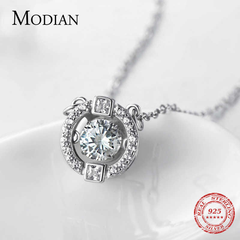 Modian Sparkling Luxury Real 925 Sterling Silver Ten Hearts Clear CZ Swing Exquisite Pendant Necklaces For Women Wedding Jewelry