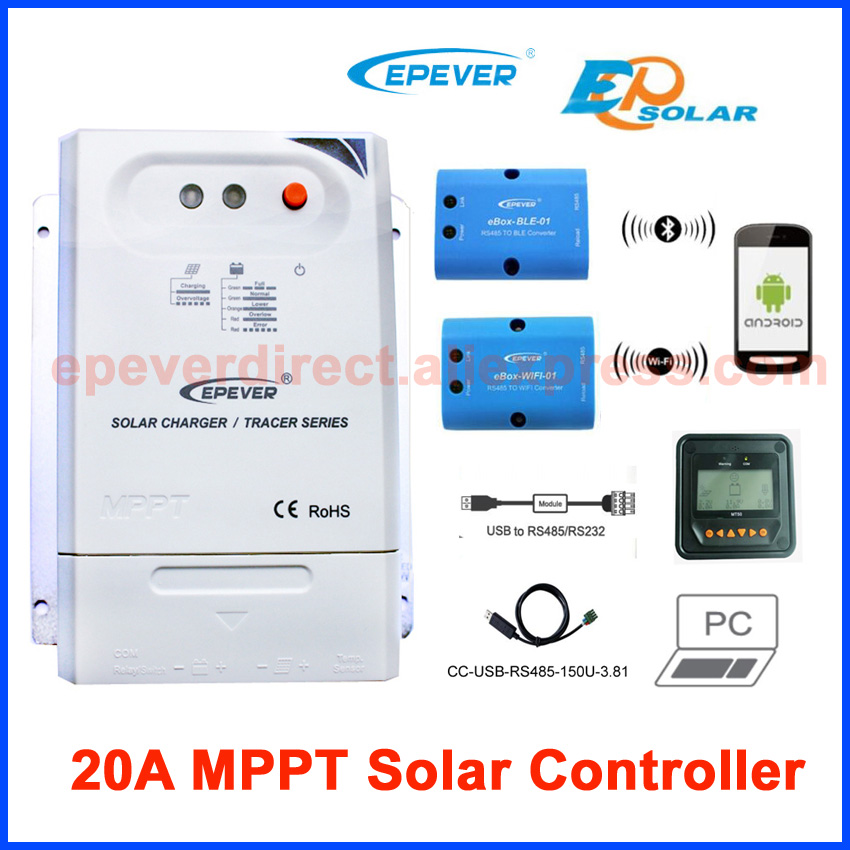 epever Tracer2210CN mppt solar controller MT50 meter accessories wifi BOX and USB cable for coummunication 20a 12 24v solar regulator with remote meter for duo battery charging