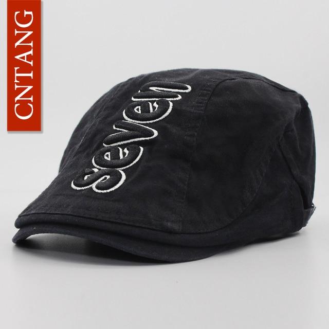 CNTANG 2017 verano hombres boina Vintage Casual algodón visera gorras moda  carta boinas marca gorra plana. Sitúa el cursor encima para ... 8b2ff3201b0