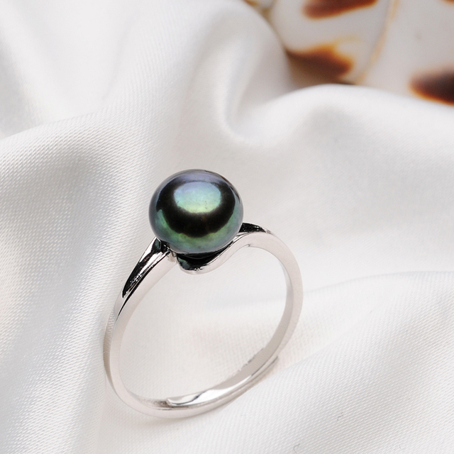 FEIGE Simple style 100% 925 Sterling Silver Ring For Women's 7-8mm Black Freshwater Pearl Rings Fine jewelry