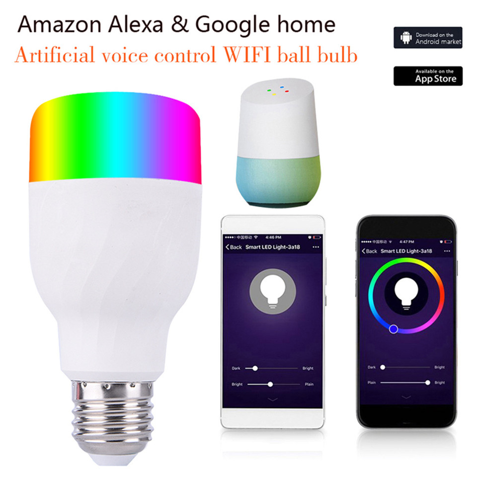 Smart E27 WIFI Voice Control Bulb Compatible with Alexa Google Home Assistant 7W RGBW Color dimmable Timer Color Changing Light frankever smart products wifi voice control discolourable bulb for bedroom club compatible with alexa google home