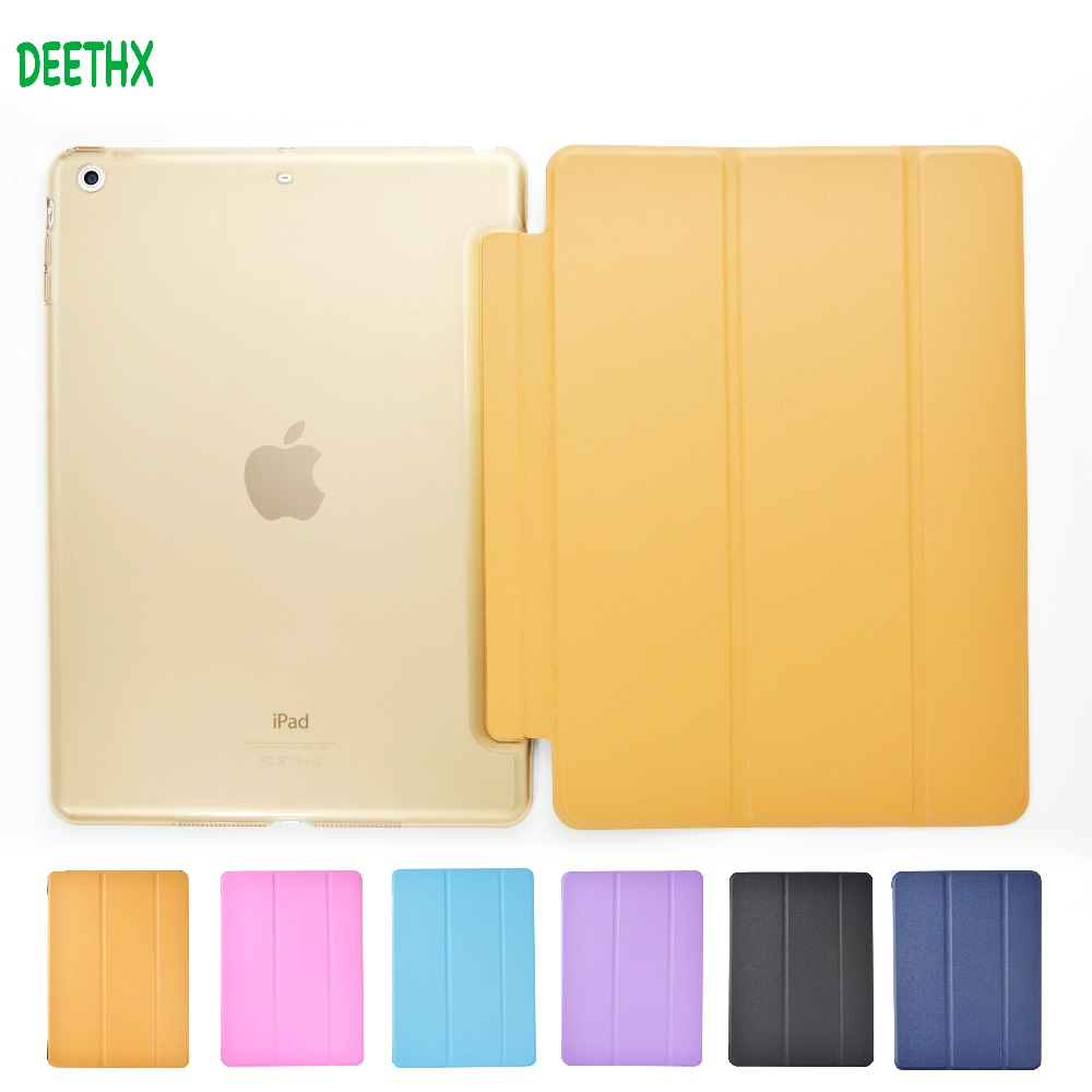 DEETHX,Tablet Case for Apple iPad Air model A1474 A1475 A1476,PU Leather Ultra Slim+Translucent Hard Back Smart Cover +Soft film rygou smart cover for apple ipad air 2 ipad 6 pu leather magnetic front case hard back cover for ipad air 2 case tablet c