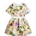 2017 Nova Primavera Outono Meninas Vestidos Florais impressão Crianças Moda vestido de princesa das meninas do bebê vestido da menina festa de Aniversário Custume