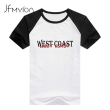 Cool Hip Hop Femme Mujer Tops Summer White Black Patchwork Women T shirt Printed Letter West Coast Oversized Tees Shirts Clothes