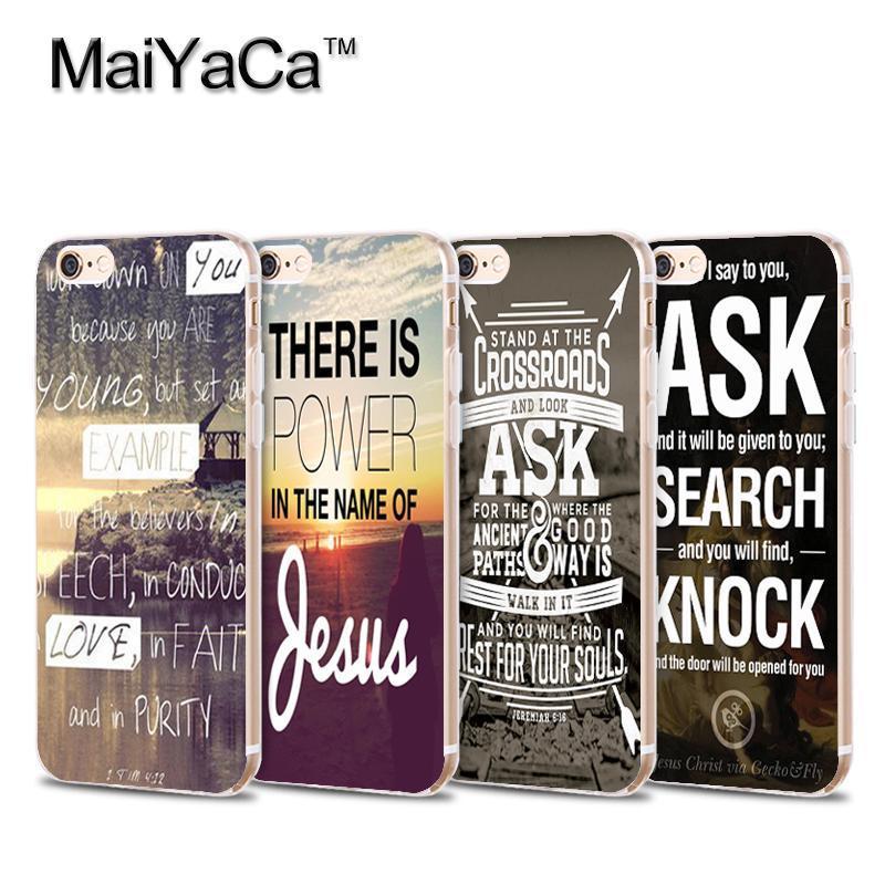MaiYaCa Christian Jesus Bible Verse Transparent TPU Soft Phone case Cover For iPhone 5 5s 6 6s 7 plus 6plus 6splus 7plus case