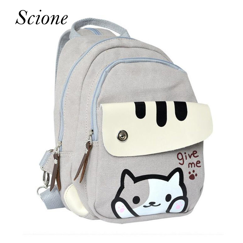 Fashion Cute Cartoon Cat Backpack High School Bags for Teenagers girls Travel Laptop Shoulder Bag mochila Escolar Feminina Li649 high quality cool 3d spiderman cartoon plush school bag fashion cute backpack gift for children mochila infantil hot sale