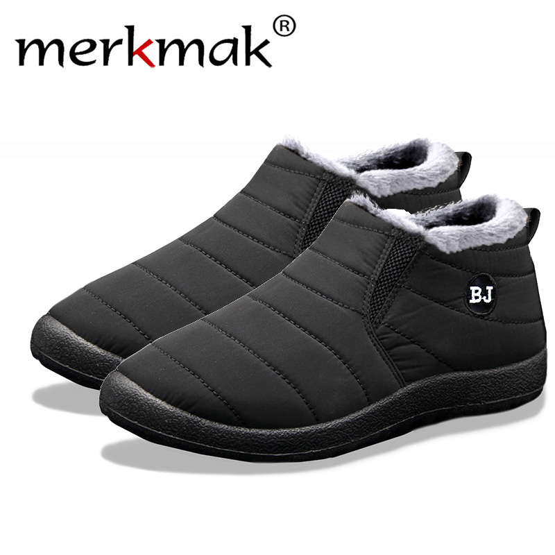 Merkmak New Fashion Men Winter Shoes Solid Color Snow Boots Plush Inside Bottom Keep Warm Waterproof Ski Boots Size 35 - 47