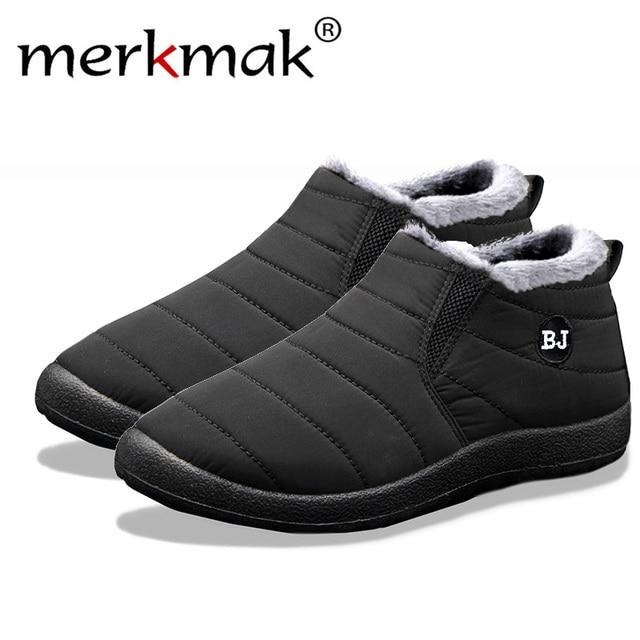 Merkmak nowa moda mężczyzna zimowe buty jednolity kolor śnieg buty pluszowe wewnątrz dna utrzymać ciepłe wodoodporne buty narciarskie rozmiar 35 -47