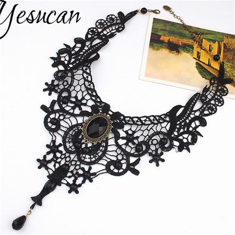 Yesucan Gothic Exaggeration Necklace Hot Women Black Lace Beads Choker Victorian Steampunk Style Fashion Jewelry
