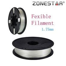 ZONESTAR 1KG 3D Printer PLA White Flexible Filament 1.75MM Flexible 3D Printer Filament Zonesta