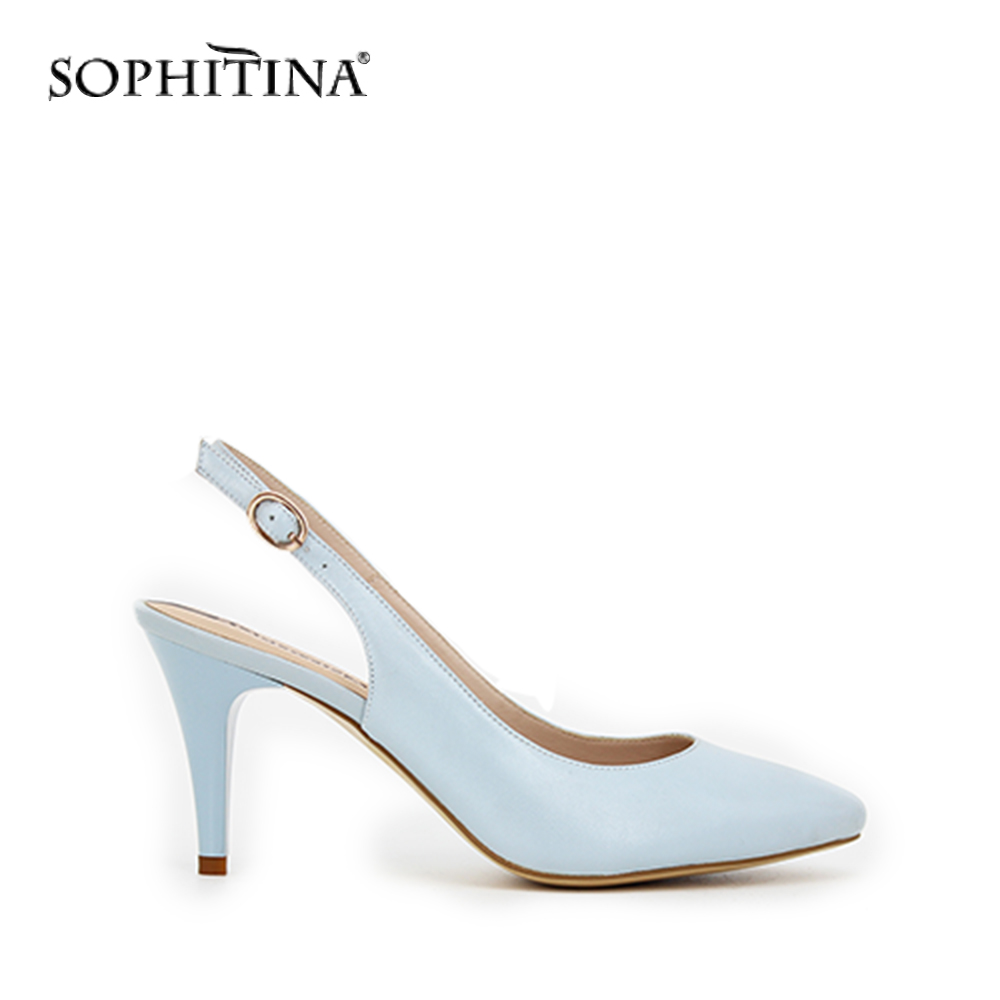 SOPHITINA Party wedding woman sandals Light Blue sheepskin Buckle Back Strap Sexy lady Sandals 8cm high heel Classics shoes S009 lf40203 sexy white pink blue strappy heart heel wedge wedding sandals sz 4 5 6 7 8 9 10