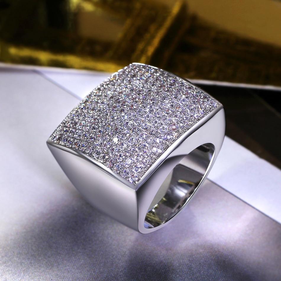 Fashion Geometric Design Square Shape Big Jewelry Zircon Stones High  Quality Women Trendy Style Wedding Accessory Chunky Ring