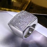 Moda diseño Geométrico forma Cuadrada Grandes joyas Circón piedras Chunky anillo de Alta Calidad de Las Mujeres Estilo De Moda Accesorio De La Boda