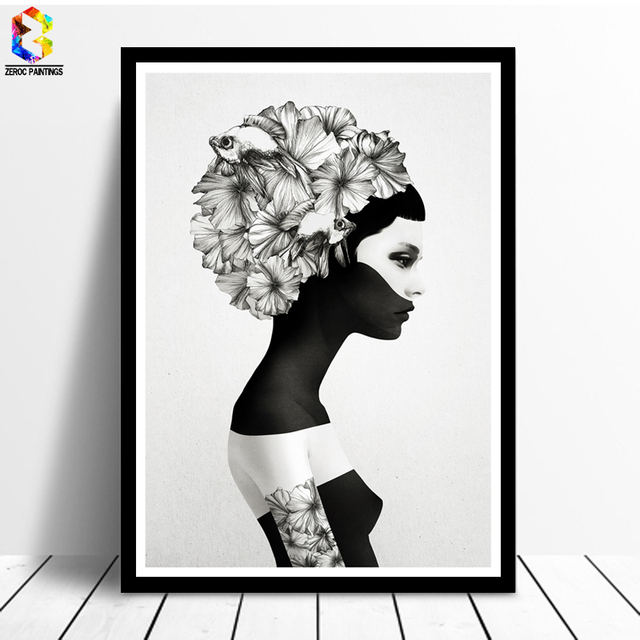 Nordic decoration flower poster and prints girl canvas painting nordic decoration flower poster and prints girl canvas painting black white marianna wall art picture for mightylinksfo