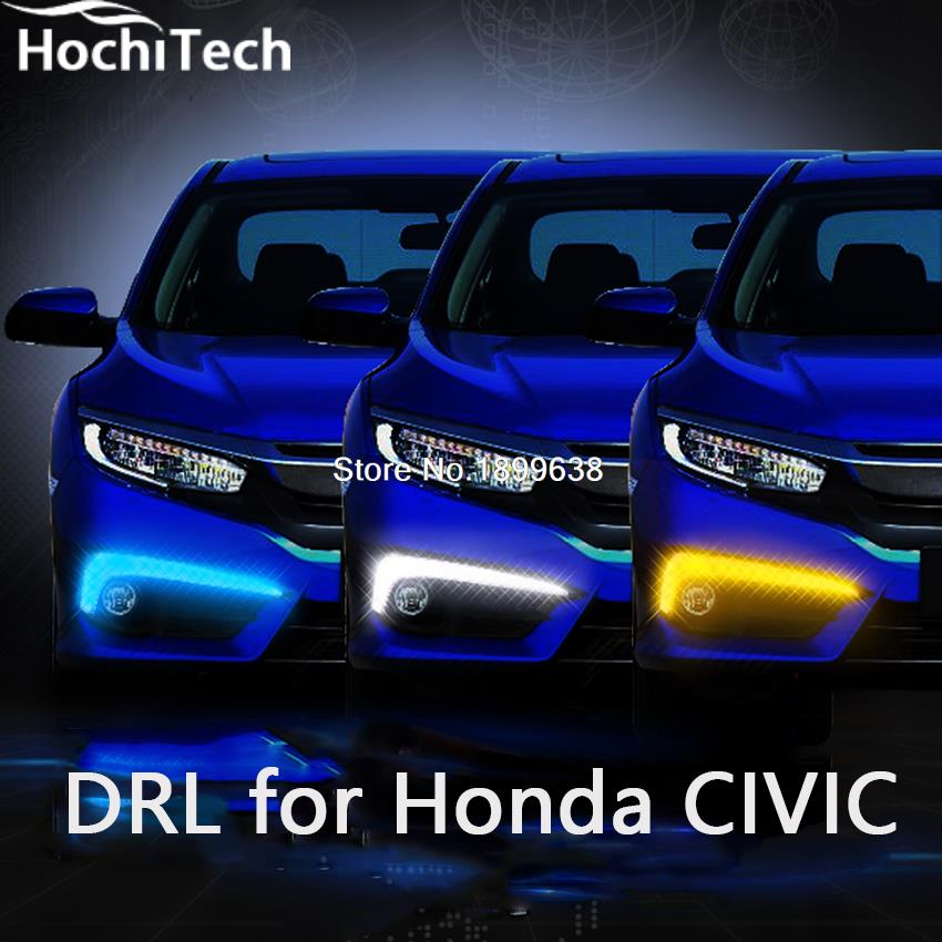 High quality and Waterproof LED Car DRL Daytime running lights fog light car styling For Honda Civic 10th 2016 high quality h3 led 20w led projector high power white car auto drl daytime running lights headlight fog lamp bulb dc12v