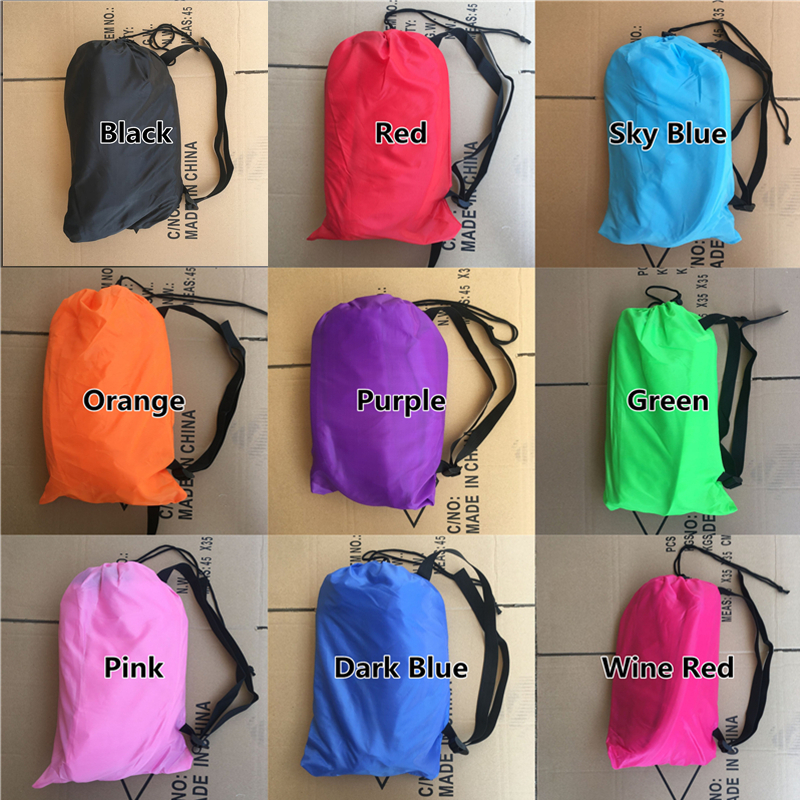 Drop shipping Fast Inflatable Lazy bag Sleeping Air Bag Camping Portable Air Sofa Beach Bed Air Hammock Nylon Banana Sofa