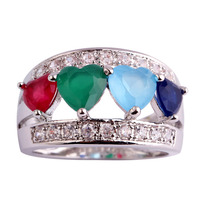New Fashion Lovely Heart Cut Multi Color Stones 925 Silver Ring Size 6 7 8 9 10 11 12 Gift For Lady Free Shipping Wholesale