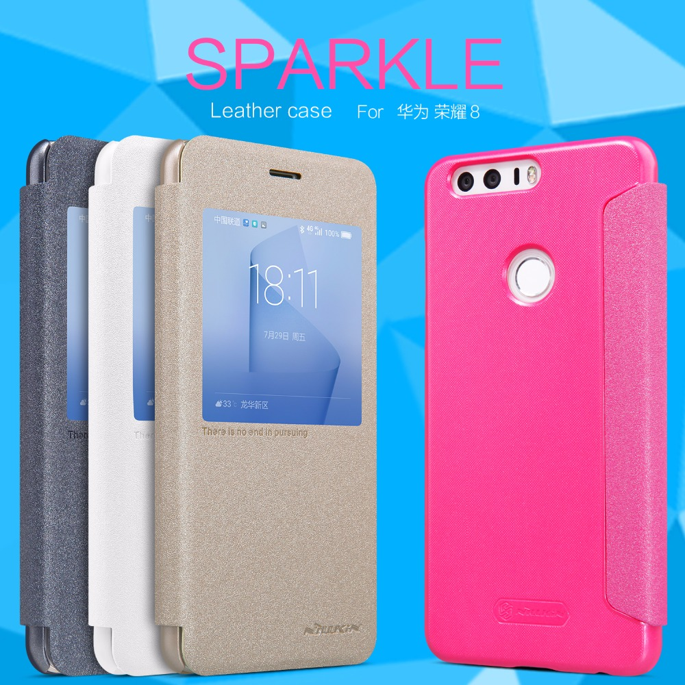 Huawei Honor 8 case NILLKIN Sparkle super thin humanized window design flip cover Protective case for