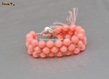 2016 summer beads 8MM cut coral cotton cord beads wrap bracelet