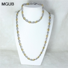 MGUB New Trendy Stamp Necklace Set Men Jewelry Wholesale  Gold color Chain Necklace Bracelet African Jewelry Sets  HY75
