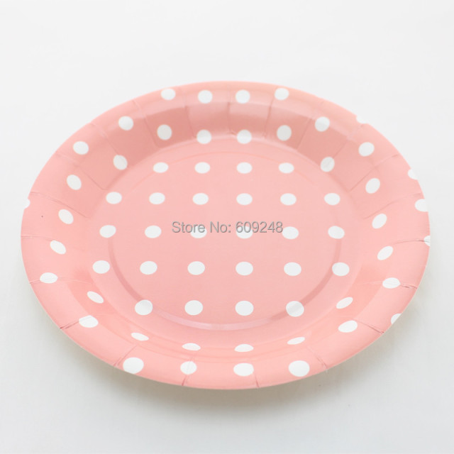 24pcs 9  White Polka Dot Pink Round Paper PlatesPersonalized Birthday Wedding Holiday Bulk & 24pcs 9
