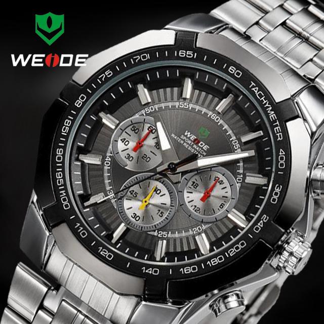 Weide de lujo a estrenar completo de acero de los hombres reloj análogo de la manera hombres de negocios reloj de cuarzo relojes de los hombres relojes relogio masculino 2017