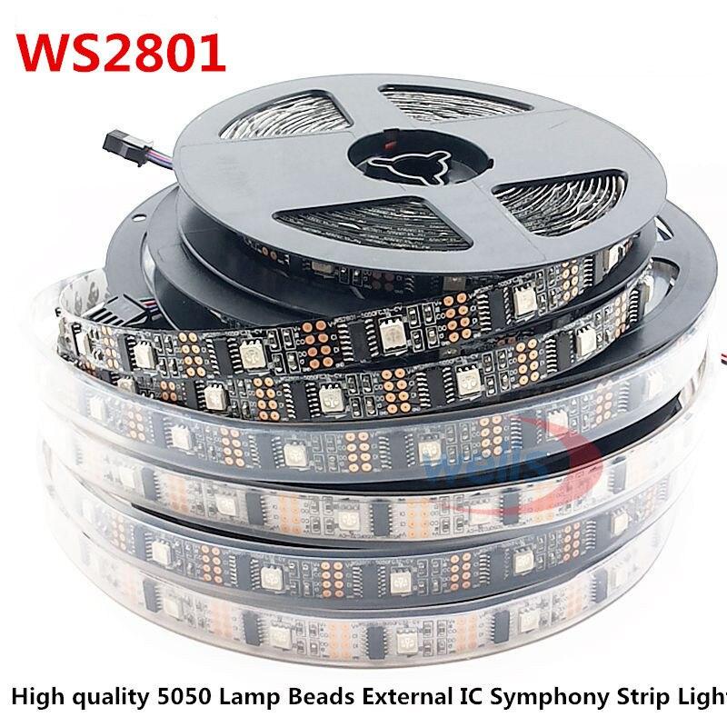 5 M WS2801 32 lumières 5050 puce externe ic 5 V LED chapiteau magique avec un seul point unique programmable IP65 IP68 étanche TV