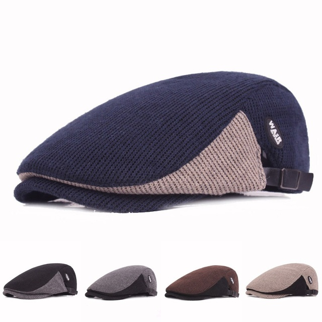 96838d04a97e8 XIANJIE013 Winter Men s Casual Yarn Knitted Berets Caps Winter British  Classic Adjustable Male Warm Cotton Berets Hats
