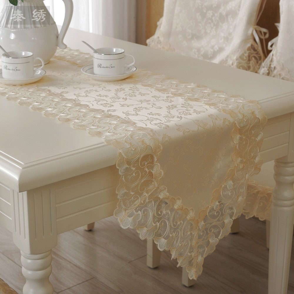 SV High grade lace table runner Cream colored table cloth Luxury lace organza satin water