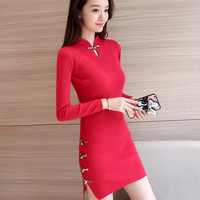 2018 New Chinese Traditional Dress Long Sleeve Red Black Warm Cheongsam Traditional Chinese Dresses For Women