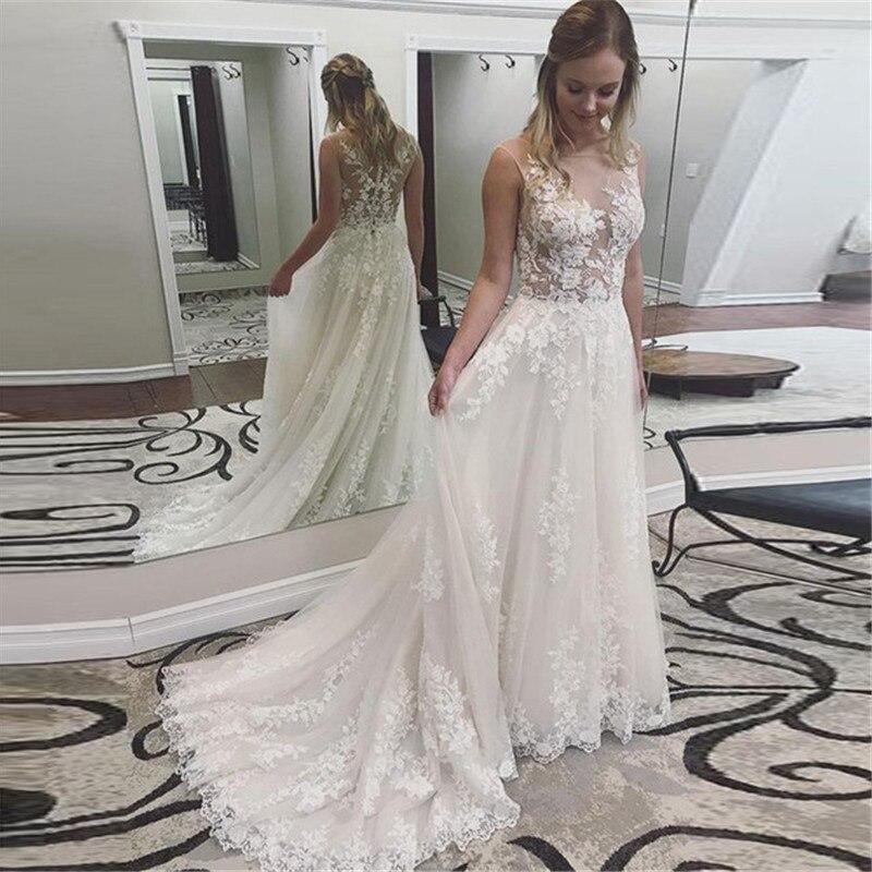 Princess Wedding Dresses 2019 Scoop Neck Appliques Lace A-line Tulle Bridal Gown Button Back Vestidos De Noivas Plus Size New