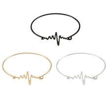 HUMANO FINO 2019 Fashion Simple 3 Colors Electrocardiogram  Bracelets Bangles Courage Girl Gifts Pulseras For Women Jewelry