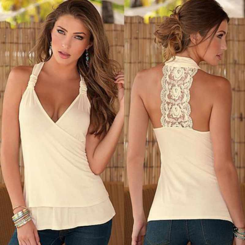 New Sexy Women Cotton Blend Tank Tops Lace Solid Regular Tee Deep V-Neck Black White