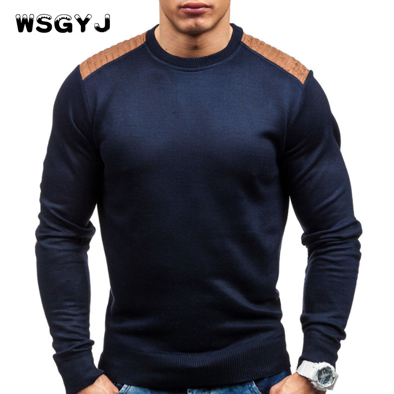 WSGYJ Sweater Pullover Men 2018 Male Brand Casual Slim Sweaters Men Suede Patch Hedging O-Neck Men'S Sweater XXL