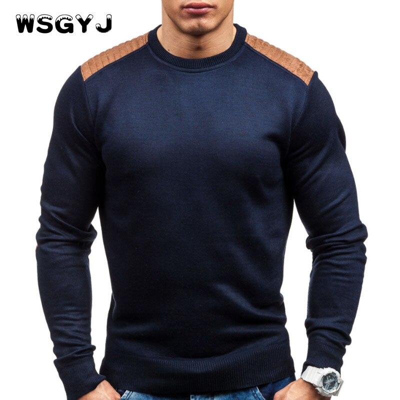Wsgyj Свитера, пуловеры Для мужчин 2018 мужские брендовые Повседневное тонкий Свитеры для женщин Для мужчин замша патч хеджирования О-образным вырезом Для мужчин свитер XXL