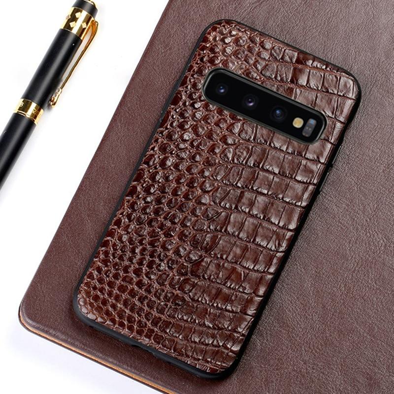D'alligator Téléphone étuis pour samsung Galaxy S6 S7 S8 S9 S10 Plus Crocodile coque peau Pour Note 8 9 A5 A7 A8 2018 J3 J5 J7 2017 cas