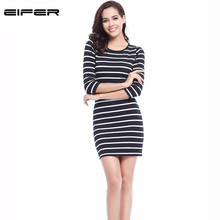 Spring Summer  Women Round Neck Fashion Black and White Striped Long Sleeve Straight Plus Size Casual Dress