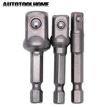 """3 bocais para furadeira hex 1/4 """"3/8"""" 1/2 """", peças com adaptador e barra de extensão pontas de chave de fenda elétrica"""