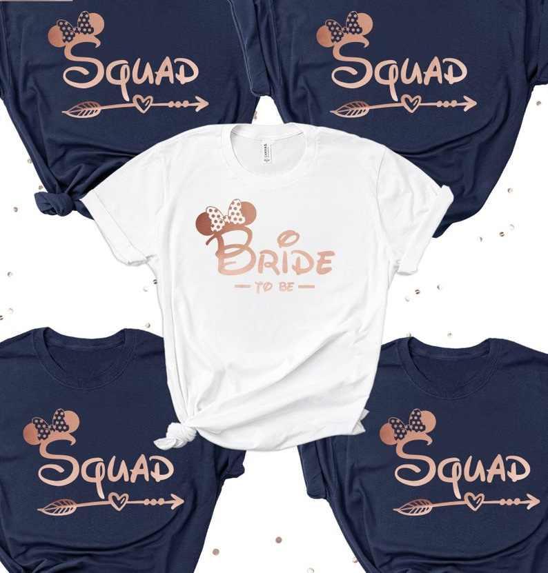 9dec11b5dd21 OKOUFEN Bachelorette Party Bridesmaid Bride T-shirt Rose Gold Printint  Bride Squad Wedding Team Women