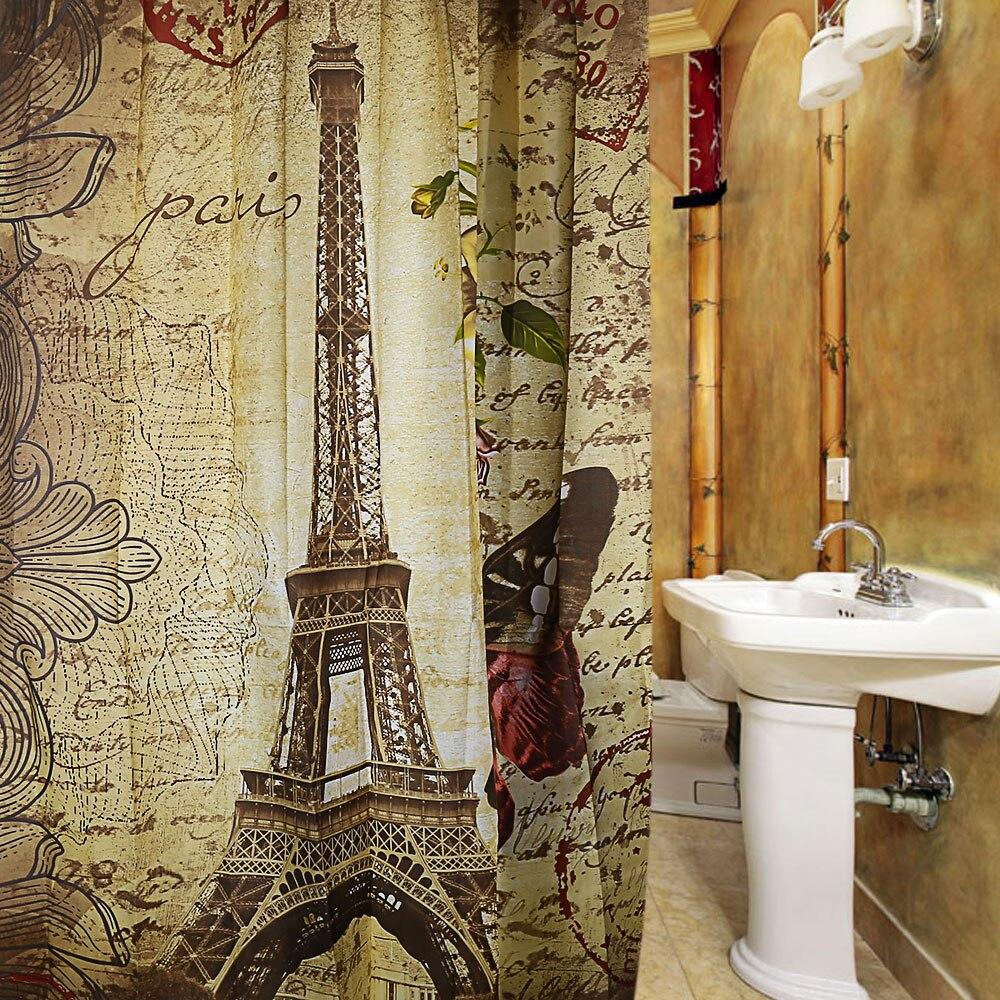 Paris Eiffel Tower Waterproof Polyester Bath Shower