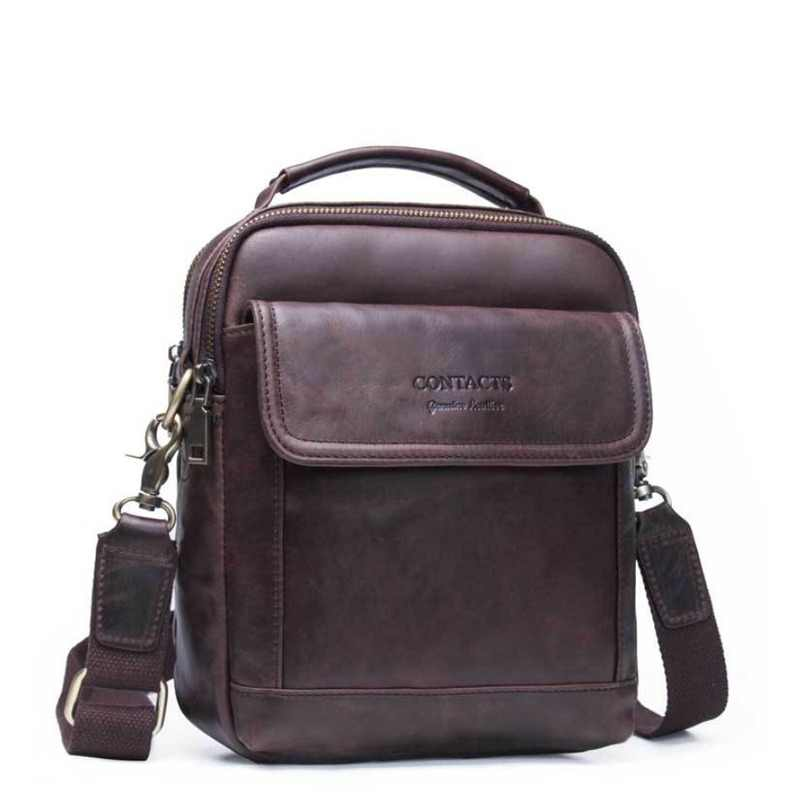 ba3978c25e65 Contact's маленькая дорожная кожаная сумка мужская сумка через плечо мешок сумка  мужская натуральная кожа кожаные сумки