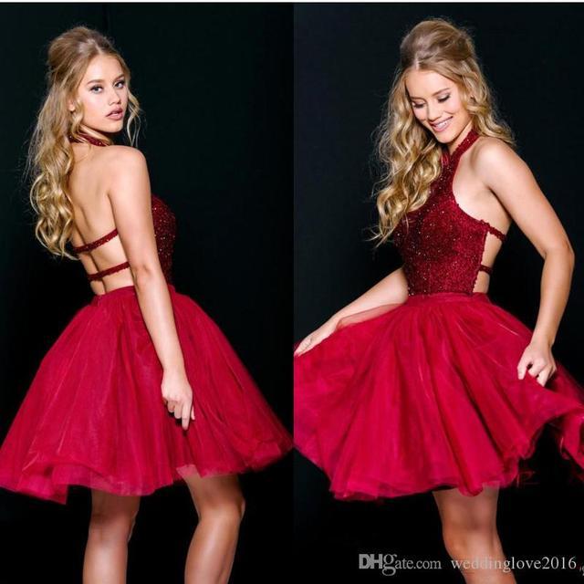 vestido de festa elegant red cocktail dresses 2017 backless beaded tulle coctail dress for prom party robe de soiree