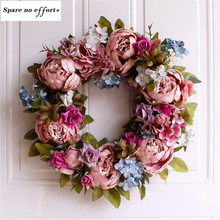 Simulation Peony Wreaths Floral Hoop Garland Wedding Decoration Household Wall Hanging Flowers(China)