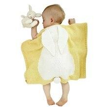 2017 New Arrive Baby Blankets Rabbit Hook Newborn Blanket Kids Cute Knit Blanket Candy Color Hot Sale M1